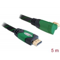Delock Cable High Speed HDMI with Ethernet – HDMI A male > HDMI A male angled 4K 5 m