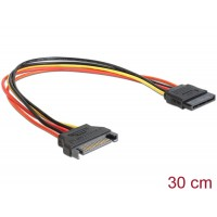 Delock Cable Power SATA 15 Pin male > SATA 15 Pin female extension 30 cm
