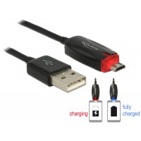 Delock Data- and power cable USB 2.0-A male > Micro USB-B male with LED indication