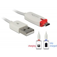 Delock Data- and power cable USB 2.0-A male > Micro USB-B male with LED indication white