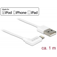 USB data and power cable for iPhone™, iPad™, iPod™ white angled 1 m