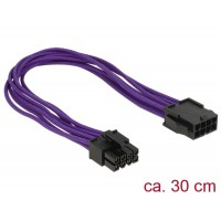 Delock Extension Power cable 8 pin EPS male > 8 pin EPS female textile shielding purple