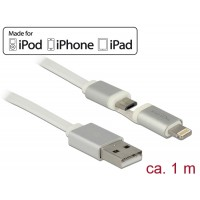 Delock USB data and power cable for Apple and Micro USB devices 1 m white