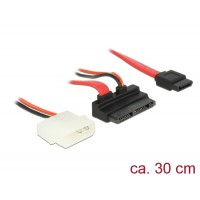 Delock Cable Micro SATA male angled > SATA 7 pin + 2 pin Power 5 V 30 cm
