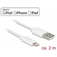 Delock USB data and power cable for iPhone iPad, iPod 2 m white