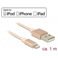 Delock USB data and power cable for iPhone iPad iPod rose 1 m