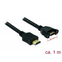 Delock Cable HDMI A male > HDMI A female panel-mount 1 m