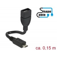 Delock Cable USB 2.0 Micro-B male > USB 2.0 Type-A female OTG ShapeCable 0.15 m