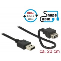 Delock Cable EASY-USB 2.0 Type-A male > EASY-USB 2.0 Type-A female ShapeCable 0.2 m