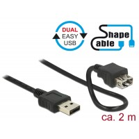 Delock Cable EASY-USB 2.0 Type-A male > EASY-USB 2.0 Type-A female ShapeCable 2 m