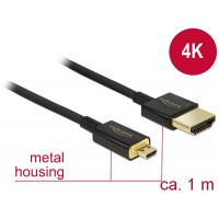 Delock Cable High Speed HDMI with Ethernet - HDMI-A male > HDMI Micro-D male 3D 4K 1 m Slim Premium