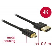 Delock Cable High Speed HDMI with Ethernet - HDMI-A male > HDMI Micro-D male 3D 4K 0.5 m Slim Premium