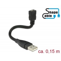 Delock Cable USB 2.0 Type-A male > USB 2.0 Micro-B female ShapeCable 0.15 m