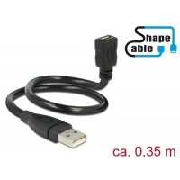 Delock Cable USB 2.0 Type-A male > USB 2.0 Micro-B female ShapeCable 0.35 m