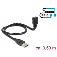 Delock Cable USB 2.0 Type-A male > USB 2.0 Micro-B female ShapeCable 0.50 m