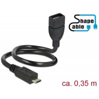 Delock Cable USB 2.0 Micro-B male > USB 2.0 Type-A female OTG ShapeCable 0.35 m