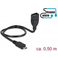 Delock Cable USB 2.0 Micro-B male > USB 2.0 Type-A female OTG ShapeCable 0.50 m