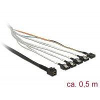 Delock Cable mini SAS HD SFF-8643 > 4 x SATA 7 pin + Sideband 0.5 m metal
