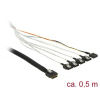 Delock Cable mini SAS SFF-8087 > 4 x SATA 7 pin + Sideband 0.5 m metal