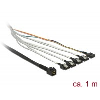 Delock Cable mini SAS HD SFF-8643 > 4 x SATA 7 pin + Sideband 1 m metal