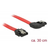 Delock Cable SATA 6 Gb/s male straight > SATA male right angled 30 cm red metal