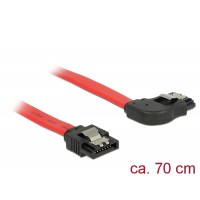Delock Cable SATA 6 Gb/s male straight > SATA male right angled 70 cm red metal