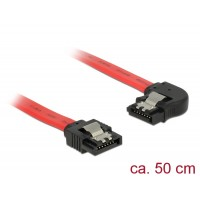 Delock Cable SATA 6 Gb/s male straight > SATA male left angled 50 cm red metal