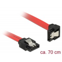 Delock Cable SATA 6 Gb/s male straight > SATA male downwards angled 70 cm red metal