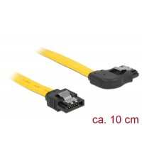 Delock Cable SATA 6 Gb/s male straight > SATA male right angled 10 cm yellow metal