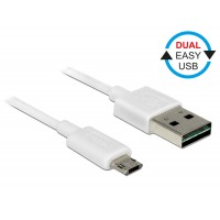 Delock Cable EASY-USB 2.0 Type-A male > EASY-USB 2.0 Type Micro-B male white 0.2 m
