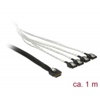 Delock Cable mini SAS SFF-8087 > 4 x SATA 7 pin 1 m metal