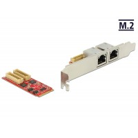 Delock M.2 Adapter M.2 > 2 x RJ45 Gigabit LAN port (USB 3.0)