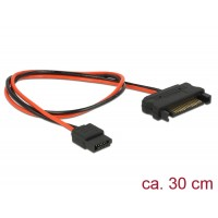 Delock Cable Power SATA 15 pin plug > Power Slim SATA 6 pin receptacle 30 cm