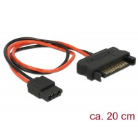 Delock Cable Power SATA 15 pin plug > Power Slim SATA 6 pin receptacle 20 cm