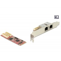 Delock M.2 Adapter M.2 > 2 x RJ45 Gigabit LAN port -40°C ~ 85°C (PCIe)