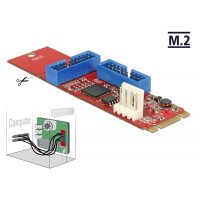 Converter M.2 Key B+M male > 2 x USB 3.0 Pin Header