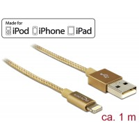 USB data and power cable for iPhone™, iPad™, iPod™ gold 1 m