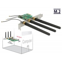 PCI Express Card > 1 x internal M.2 Key A Slot with 3 external Antennas – Low Profile Form Factor