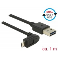 Delock Cable EASY-USB 2.0-A male > EASY-Micro USB 2.0 male angled up / down 1 m