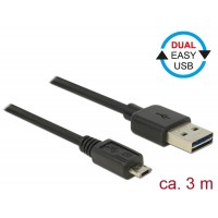 Delock Cable EASY-USB 2.0-A male > EASY-Micro USB 2.0 male 3 m