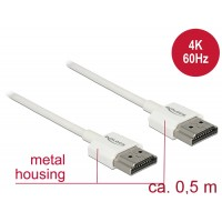Delock Cable High Speed HDMI with Ethernet - HDMI-A male > HDMI-A male 3D 4K 0.5 m Slim High Quality
