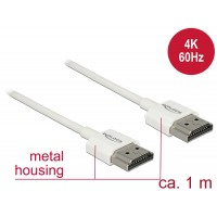 Delock Cable High Speed HDMI with Ethernet - HDMI-A male > HDMI-A male 3D 4K 1 m Slim High Quality