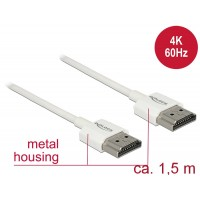Delock Cable High Speed HDMI with Ethernet - HDMI-A male > HDMI-A male 3D 4K 1.5 m Slim High Quality