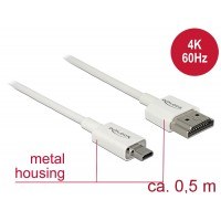 Delock Cable High Speed HDMI with Ethernet - HDMI-A male > HDMI Micro-D male 3D 4K0.5 mSlim High Quality