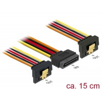 Delock Cable SATA 15 pin power plug with latching function > 2 x SATA 15 pin power receptacle 15 cm