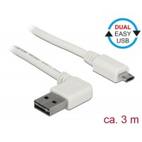 Delock Cable EASY-USB 2.0 Type-A male angled left / right > EASY-USB 2.0 Type Micro-B male white 3 m