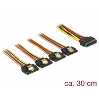 Delock Cable SATA 15 pin power plug with latching function > SATA 15 pin power receptacle 4 x straight 30 cm
