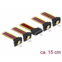 Delock Cable SATA 15 pin power plug with latching function > SATA 15 pin power receptacle 2 x down / 2 x up 15 cm