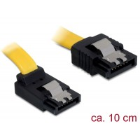 Delock Cable SATA 6 Gb/s male straight > SATA male upwards angled 10 cm yellow metal